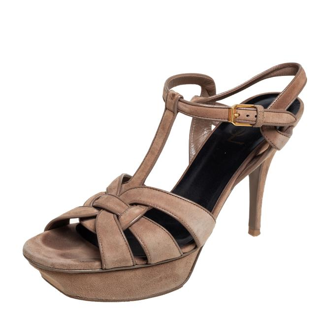 Item - Tribute Beige Suede and Leather Platform Size 40 Sandals