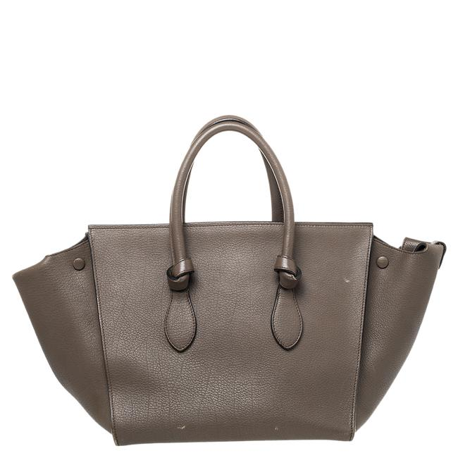 Item - Tie Grey Leather Small Tote