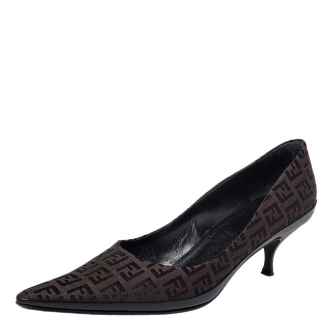Item - Brown/Black Zucca Canvas Slip On Pointed Size 40 Pumps
