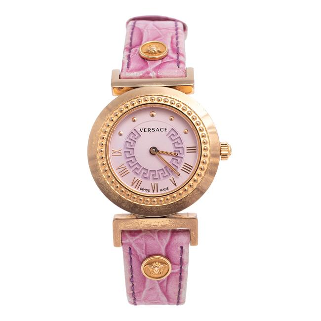 Item - Lilac Gold Plated Stainless Steel Leather Vanity P5q Women's Wristwatch 35 Mm Watch
