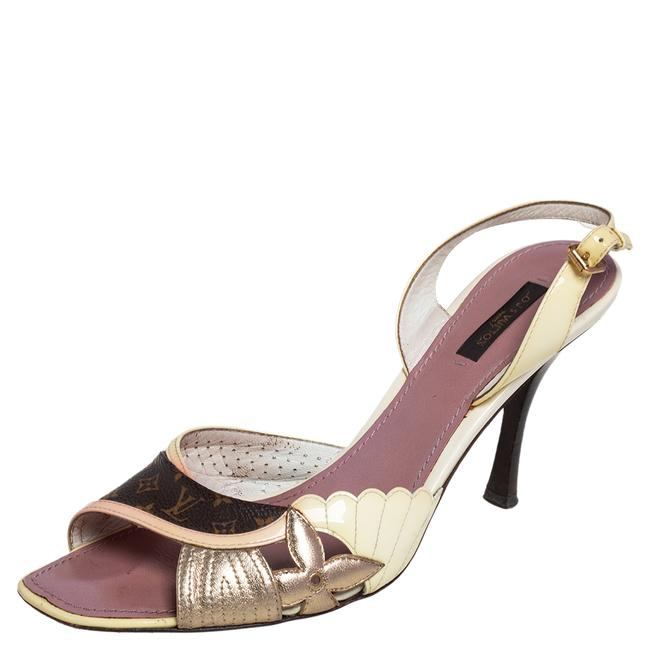 Item - Cream/Brown Monogram Canvas and Patent Leather Lasercut Slingback Size 40 Sandals