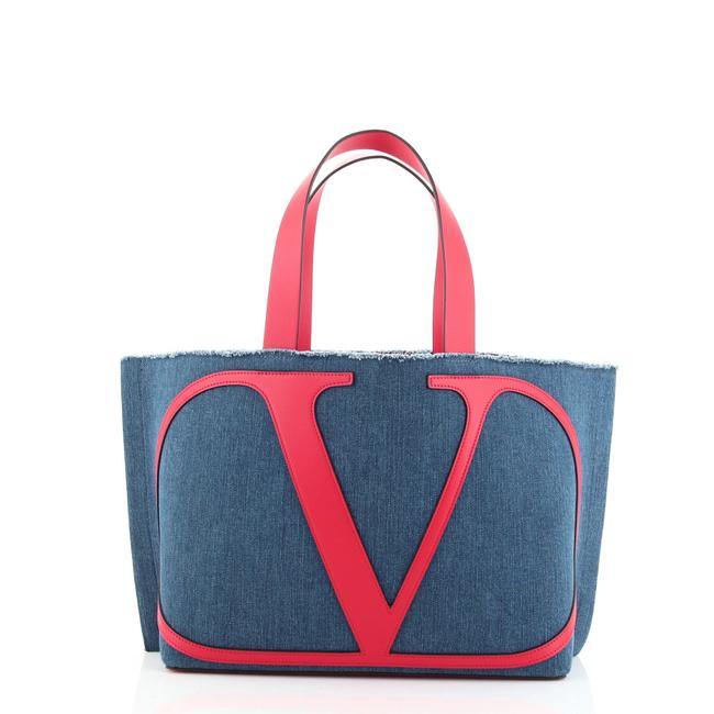 Item - Vlogo Escape Denim with Leather Small Tote
