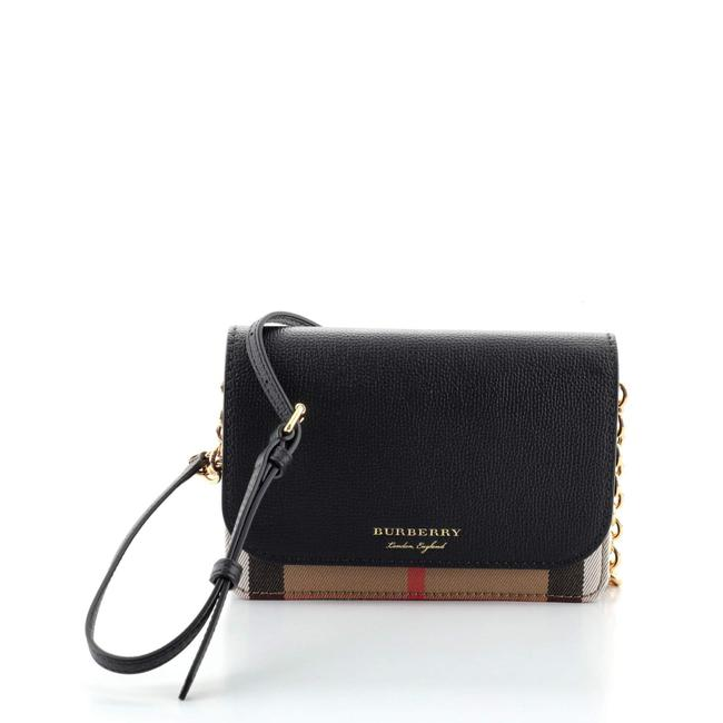 Item - Hampshire Wallet On Chain Leather and House Check Canvas Cross Body Bag