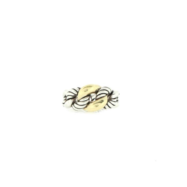 Item - Belmont Curb Link Ring Sterling Silver with 18k Yellow Gold 17mm Jewelry