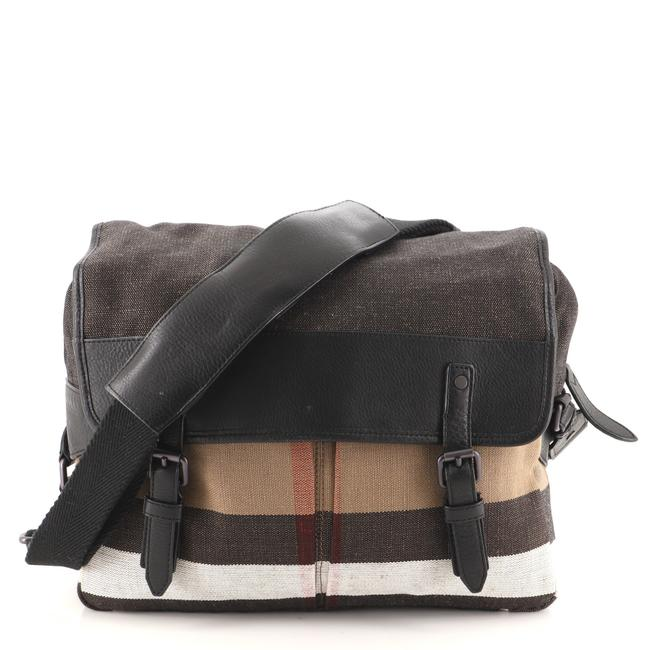 Item - Addison House Check Canvas and Leather Messenger Bag
