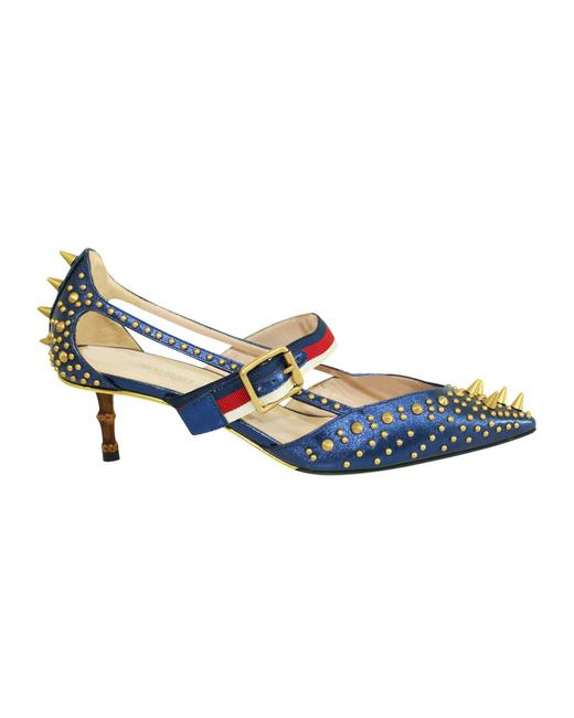 Item - Blue Metallic Spiked Kitten Heels with Unia Strap and Bamboo Formal