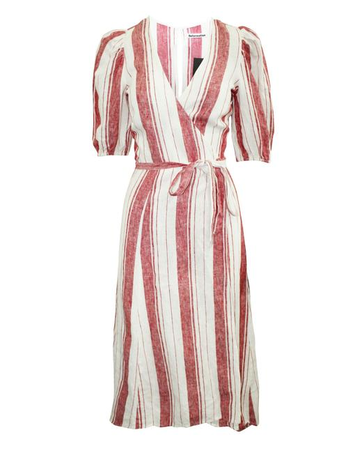 Item - White and Red Striped Linen Maxi Wrap -pre Owned Formal Dress