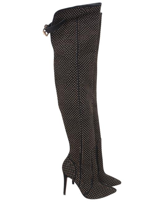 Item - Black Thigh High Gold Accent -pre Owned Boots/Booties