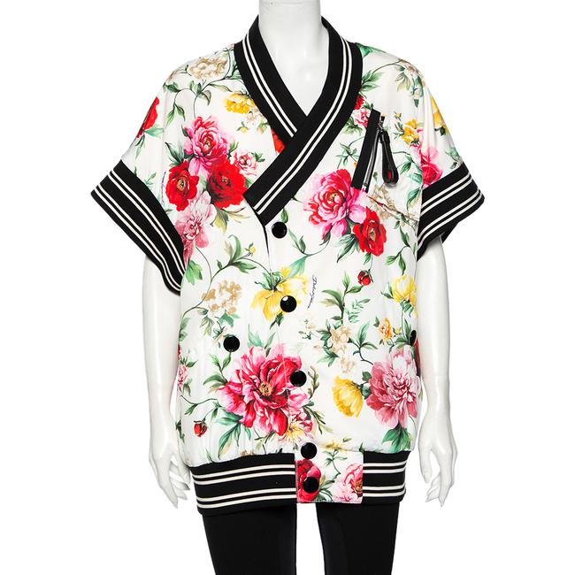 Item - Dolce & Gabbana White Floral Printed Synthetic Contrast Trim Faux Wrap Bomber Jacket