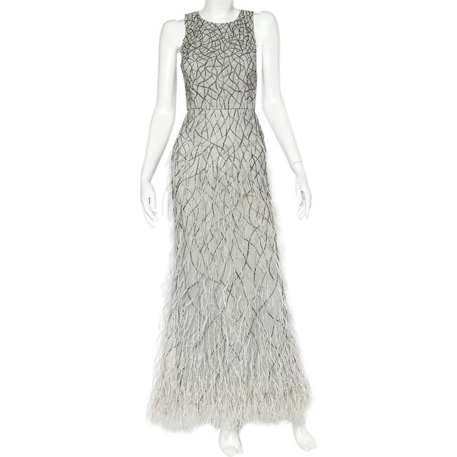 Item - Alice+olivia Grey Tulle Feather & Bead Embellished Vaughn Gown S