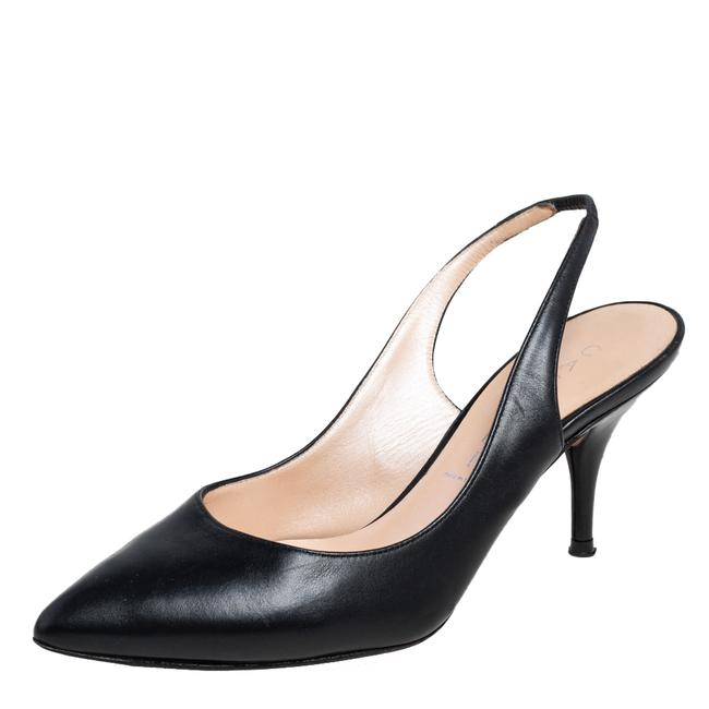 Item - Black Leather Pointed Toe Slingback Size 35.5 Pumps