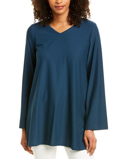 Eileen Fisher Stretch Crepe V-neck R9tl-t5204m Tunic Eileen Fisher Stretch Crepe V-neck R9tl-t5204m Tunic Image 1