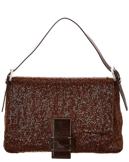 Item - Pre-owned Limited Edition Brown Beaded Leather Mama Bag 1428392 Baguette