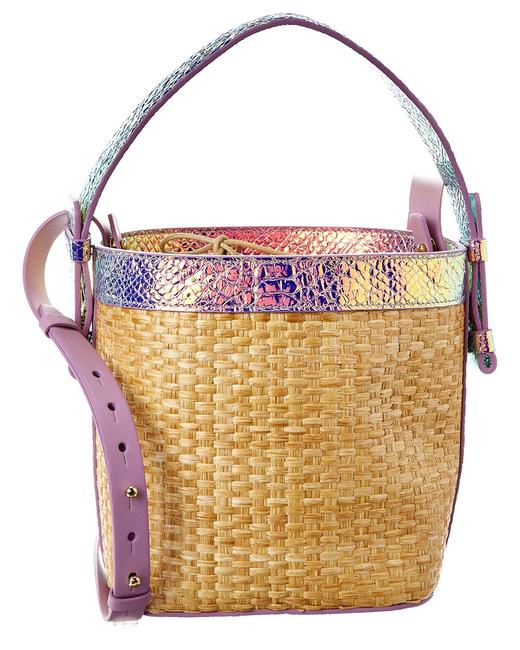 Nico Giani Bucket Adenia Large & Croc-embossed Leather Ng1013 Glow Straw Shoulder Bag 11605595800000 Image 1