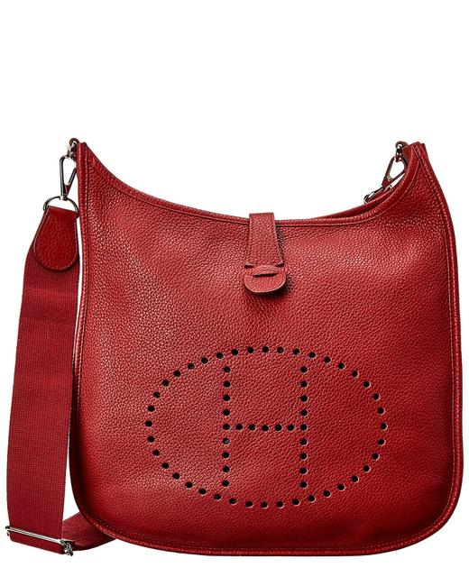 Item - Evelyne Pre-owned Red Clemence Leather Iii Gm 5187-1 Tote
