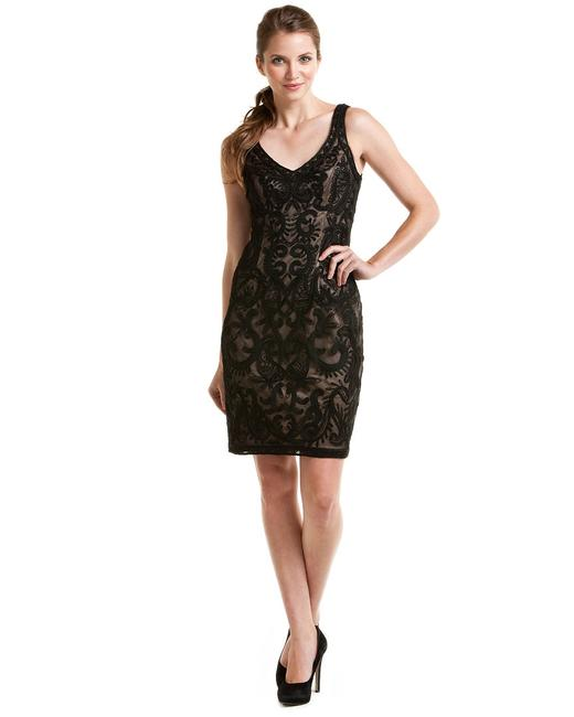 Item - Black Embroidered Sleeveless N0234 Night Out Dress