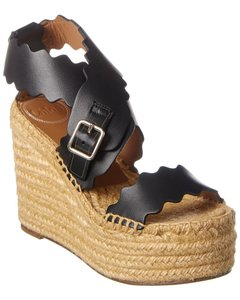 Chloé Lauren Scalloped Leather Wedge Platform Chc19a19 391 001 Sandals