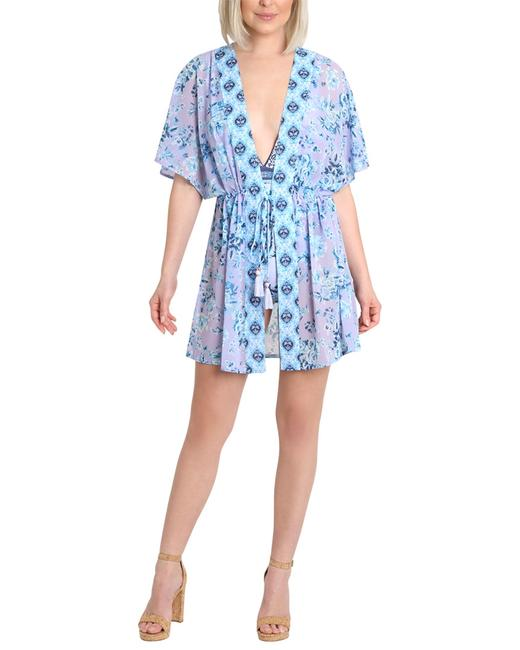 Item - Kayla Tie Front Caftan L071004nl-d Cover-up/Sarong