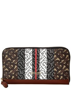 Burberry Monogram Stripe E-canvas & Leather Ziparound 8019308 Wallet