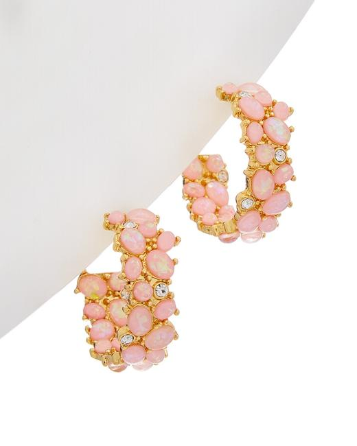 Kenneth Jay Lane 22k Plated Pink Opal Hoops 1574epkp Jewelry 60305471380000 Image 1