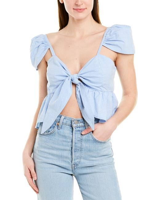 Item - Tie-front Ruffle Top Mr3697 Blouse