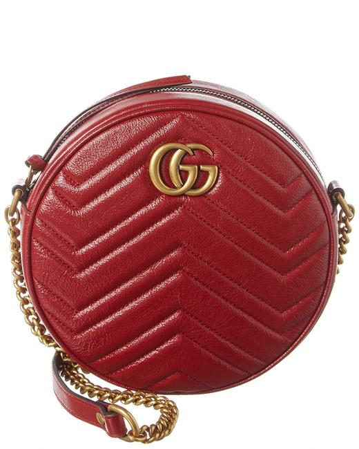 Gucci Marmont Gg Mini Round Leather 550154 0olet 6438 Cross Body Bag Gucci Marmont Gg Mini Round Leather 550154 0olet 6438 Cross Body Bag Image 1