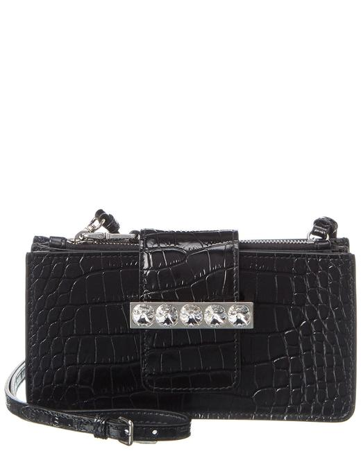 Miu Miu Crystal Embellished Mini Croc-embossed Leather Wallet 5dh042 2a2m F0002 Accessory 11116723150000 Image 1