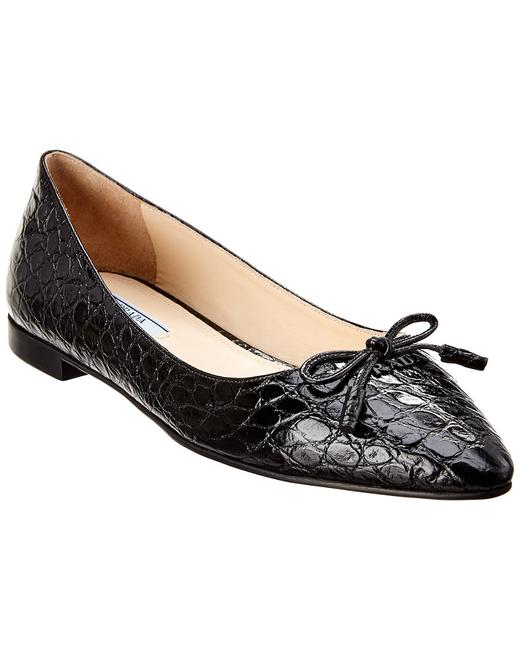 Item - Croc-embossed Leather Pointy-toe Ballerina 1f599l 1u5 F0002 012 Flats