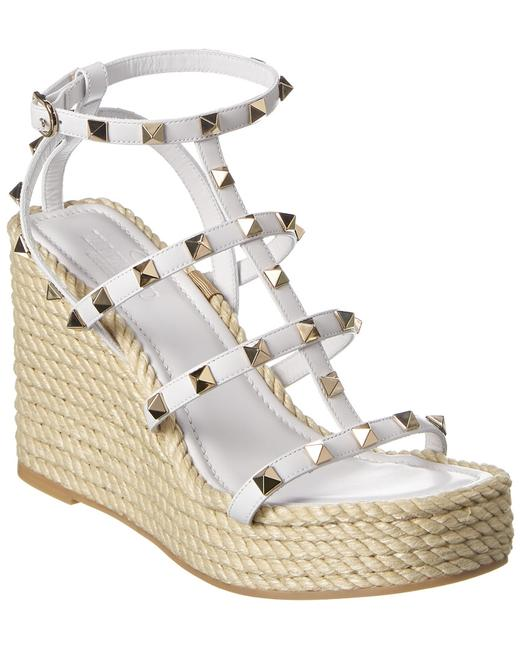 Valentino Rockstud Caged Leather Wedge Uw2s0f95 Bae 001 Sandals 13137051270001 Image 1