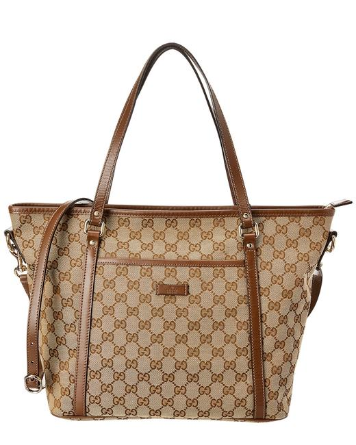 Gucci Pre-owned Brown Gg Canvas & Leather Qfbesn0e0b030 Tote 11112151730000 Image 1