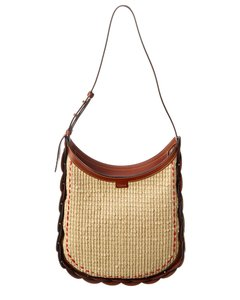 Chloé Darryl Medium Raffia & Leather Chc20as341 D03 27s Hobo Bag