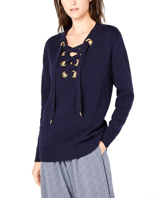 Item - Laced Grommet-neck Cotton Sweater/Pullover