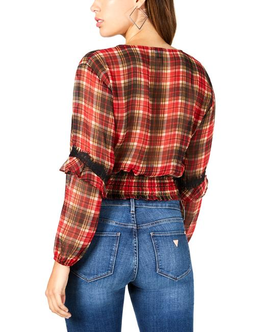 Guess Madrid Plaid Lace Up Blouse Guess Madrid Plaid Lace Up Blouse Image 2