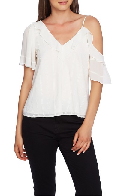 1.STATE Ruffle One Shoulder Embroidered Top Blouse 1.STATE Ruffle One Shoulder Embroidered Top Blouse Image 1