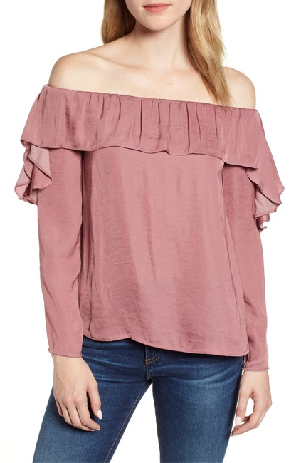 1.STATE Ruffled Off-the-shoulder Top Blouse 1.STATE Ruffled Off-the-shoulder Top Blouse Image 1