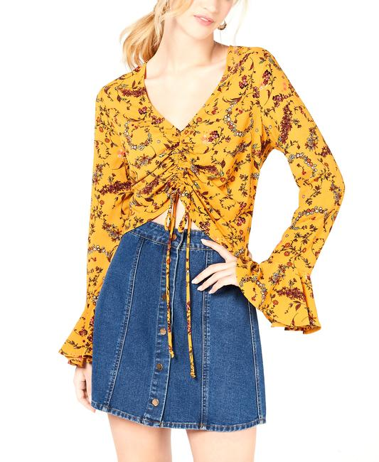 Item - Printed Ruched Bell-sleeve Top Blouse