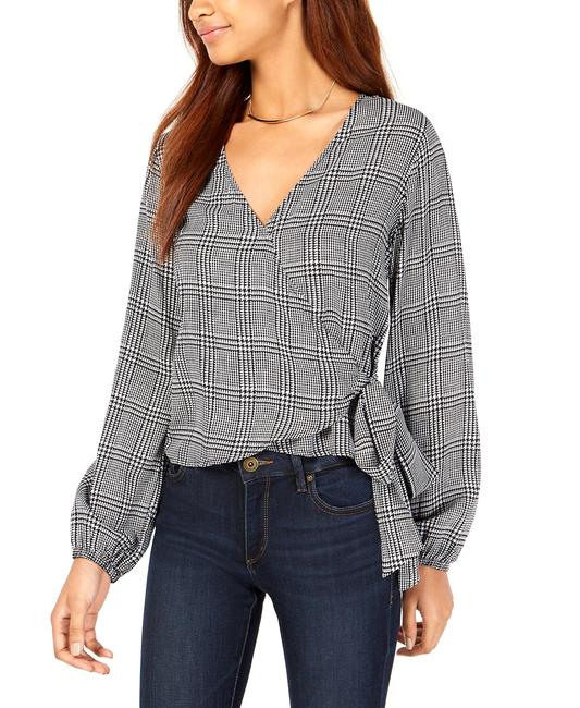 Item - Houndstooth-print Wrap Blouse