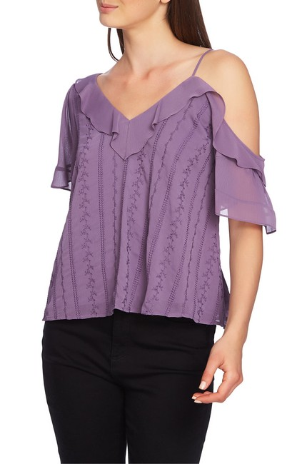 1.STATE Ruffle One-shoulder Embroidered Top Blouse 1.STATE Ruffle One-shoulder Embroidered Top Blouse Image 1