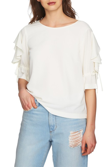 1.STATE Ruffled Tie-sleeve Top Blouse 1.STATE Ruffled Tie-sleeve Top Blouse Image 1