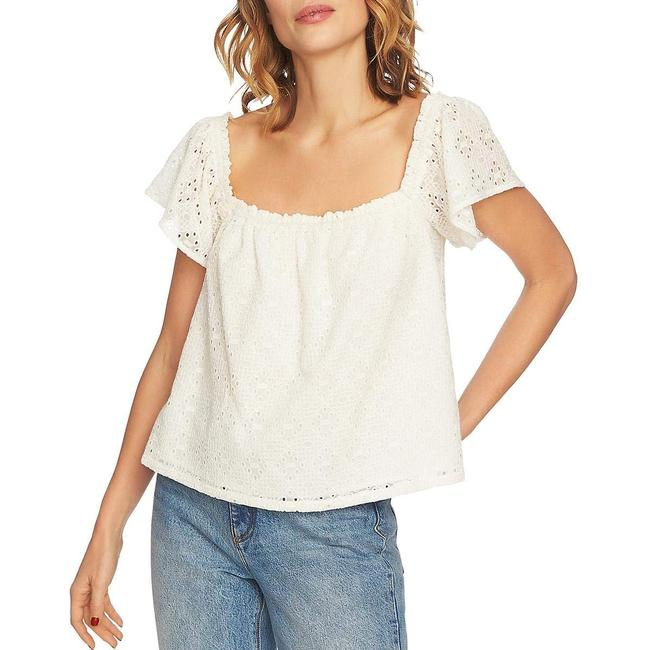 1.STATE Jungle Boogie Square-neck Eyelet Top Blouse 1.STATE Jungle Boogie Square-neck Eyelet Top Blouse Image 1