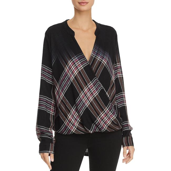 Item - Plaid Hi-low Wrap Top Blouse