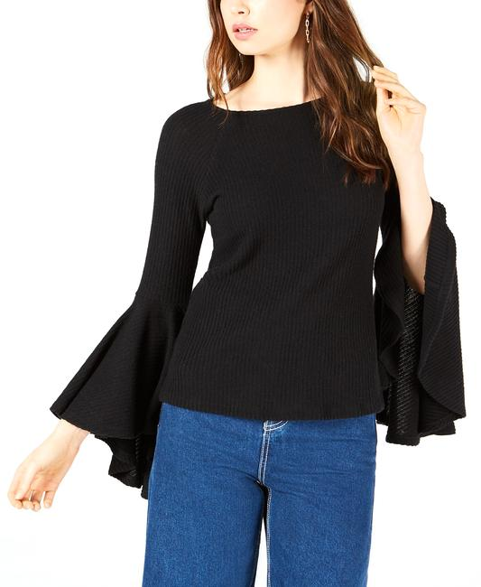 Item - Ribbed-knit Bell-sleeve Top Blouse