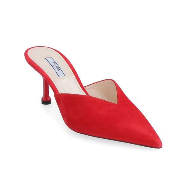 Item - Women's Suede Pointed Toe Heeled Mules Red Heel Pumps