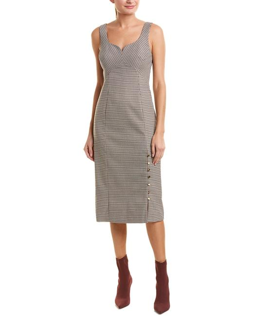 Item - Houndstooth Silk-lined Midi Pf18d14-ps Cocktail Dress