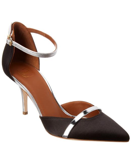 Malone Souliers Satin & Leather Booboo Ms 70 Black Silver Pumps 13135850080004 Image 1