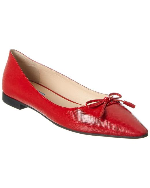 Item - Saffiano Leather Pointy-toe Ballerina 1f599l 3a9s F0011 012 Flats