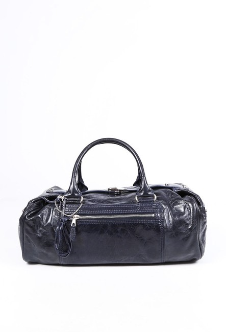 Item - Top Handle Bag Navy Blue Leather Bull Tote