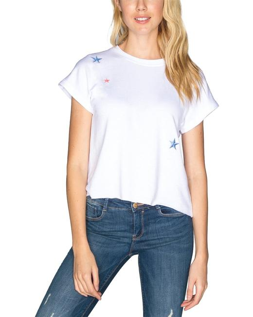 chrldr Raised Stars Crop Muscle T-shirt Cl11623 Blouse chrldr Raised Stars Crop Muscle T-shirt Cl11623 Blouse Image 1