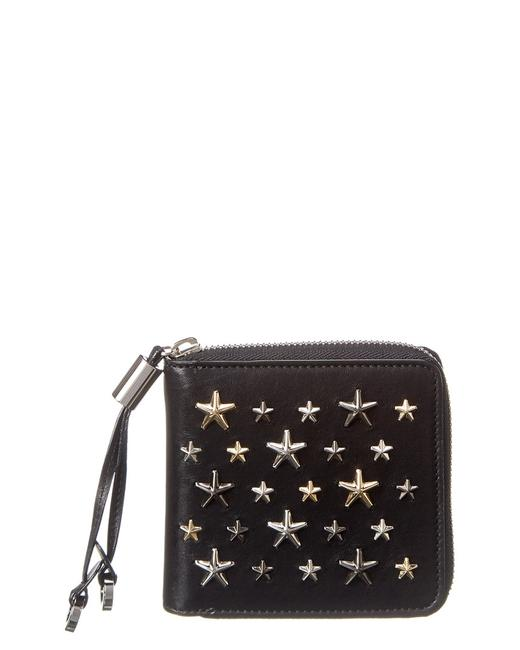 Jimmy Choo Studded Leather Wallet Tessa Ltr Black Metallic Mix Accessory Jimmy Choo Studded Leather Wallet Tessa Ltr Black Metallic Mix Accessory Image 1
