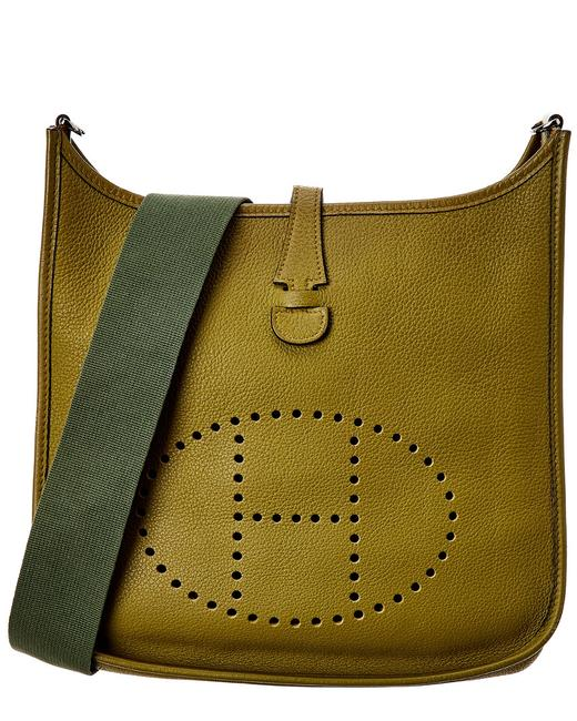 Item - Evelyne Pre-owned Khaki Clemence Leather I Pm 6524-1 Tote